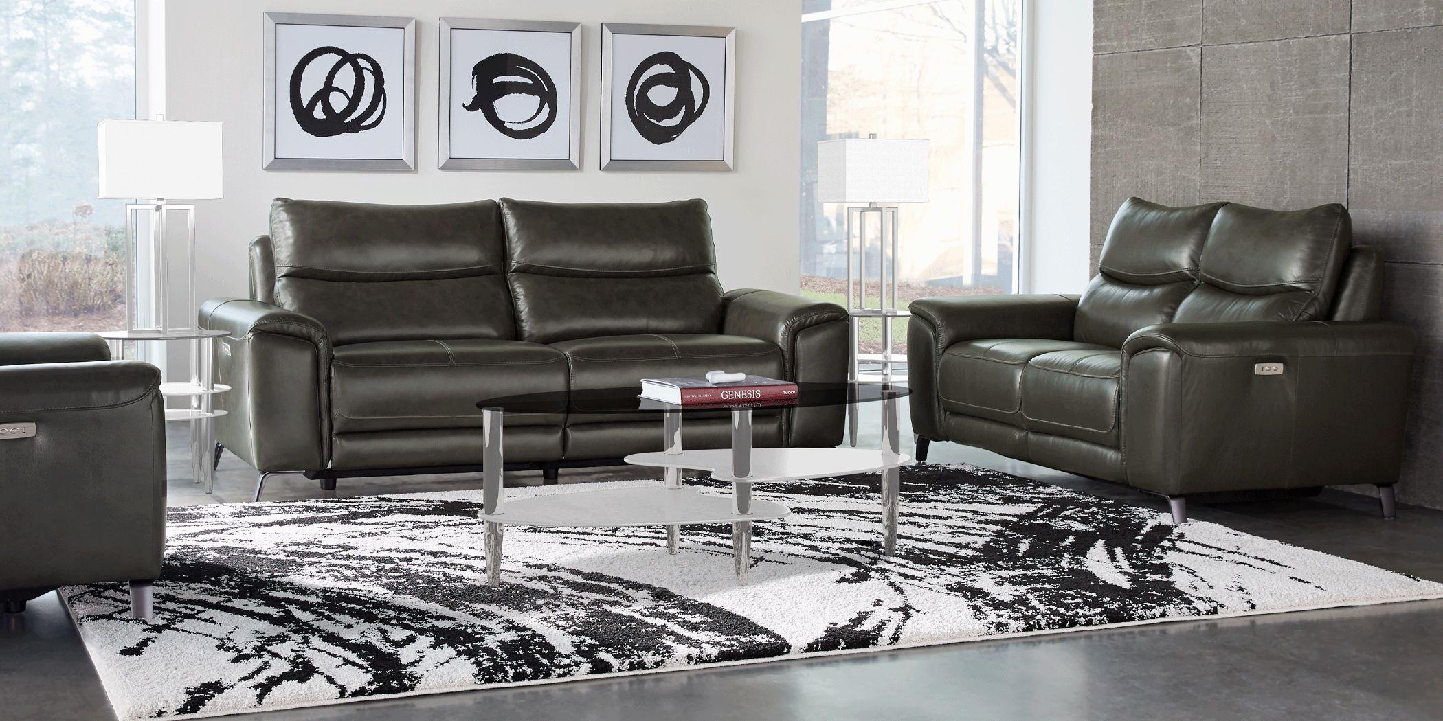 Rosato Gray Leather 3 Pc Power Reclining Living Room