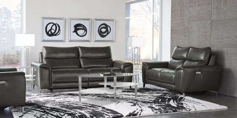 Rosato Gray Leather 3 Pc Power Reclining Living Room