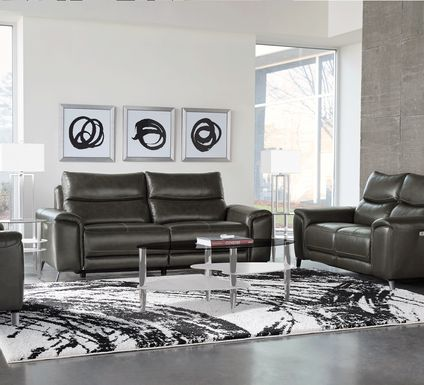 Rosato Gray Leather 5 Pc Power Reclining Living Room