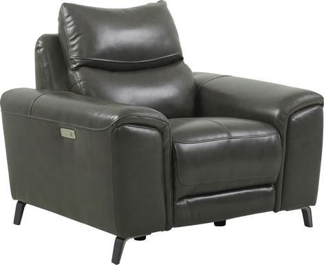 Rosato Gray Leather Power Recliner