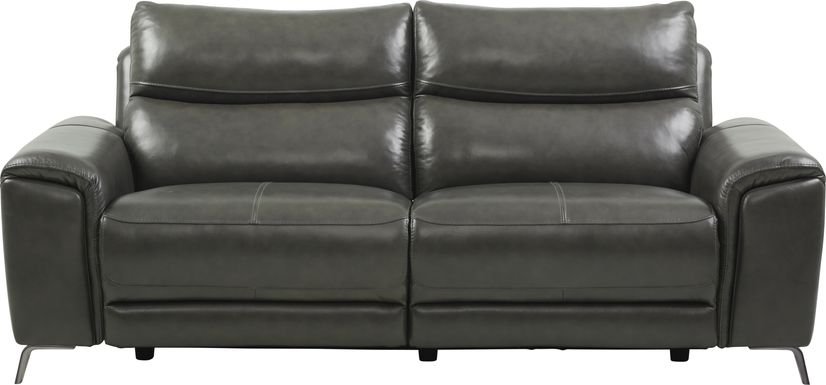 Rosato Gray Leather Power Reclining Sofa