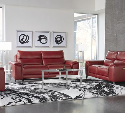 Rosato Red Leather 2 Pc Power Reclining Living Room