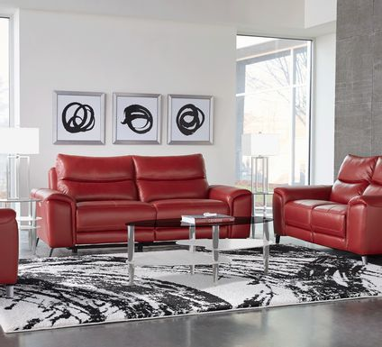 Rosato Red Leather 5 Pc Power Reclining Living Room