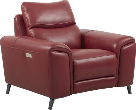 Rosato Red Leather Power Recliner