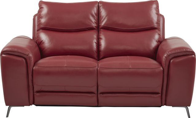 Rosato Red Leather Power Reclining Loveseat