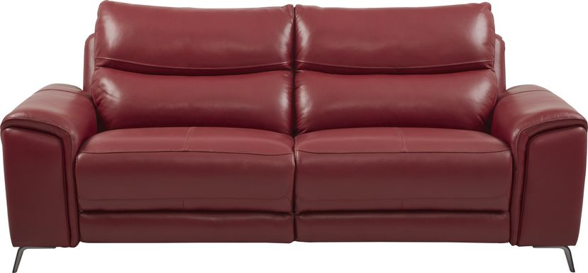 Rosato Red Leather Power Reclining Sofa