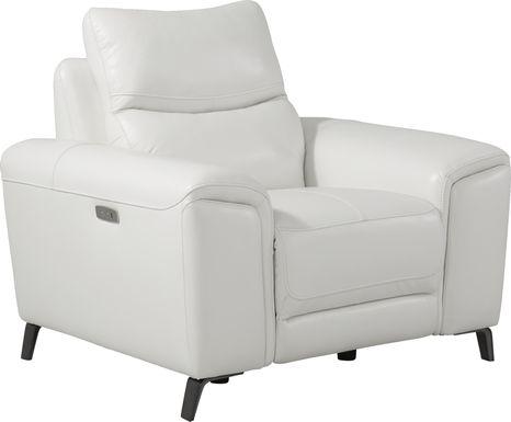 Rosato White Leather Power Recliner