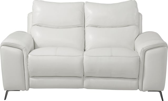 Rosato White Leather Power Reclining Loveseat