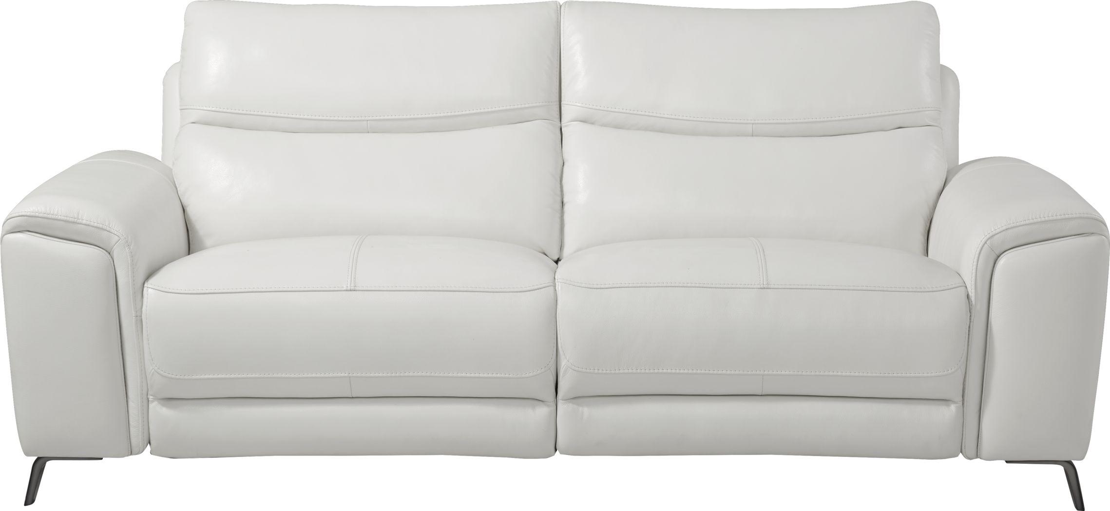 Rosato White Leather Power Reclining Sofa