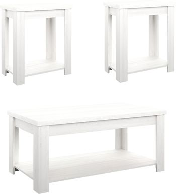 Rosestone White 3 Pc. Occasional Table Set