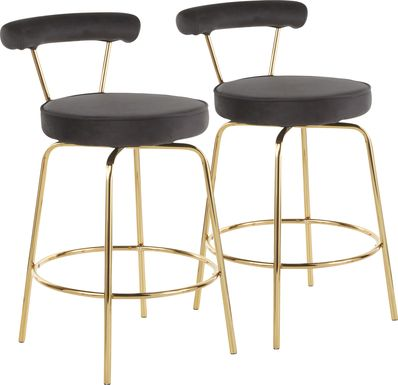 Rosiere Black Counter Height Stool, Set of 2