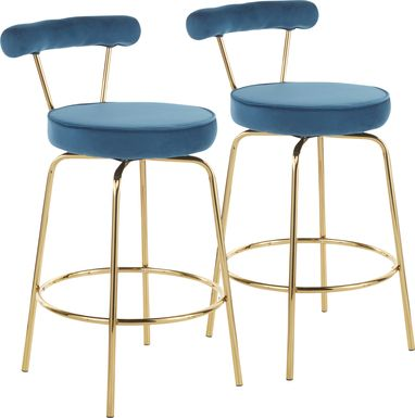 Rosiere Blue Counter Height Stool, Set of 2