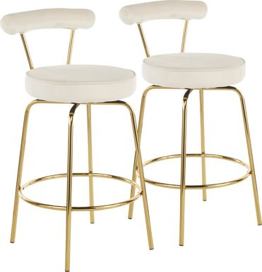 Rosiere Cream Counter Height Stool, Set of 2
