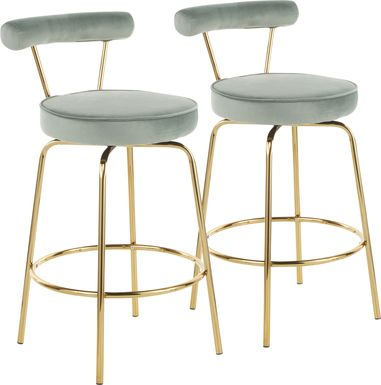 Rosiere Green Counter Height Stool, Set of 2