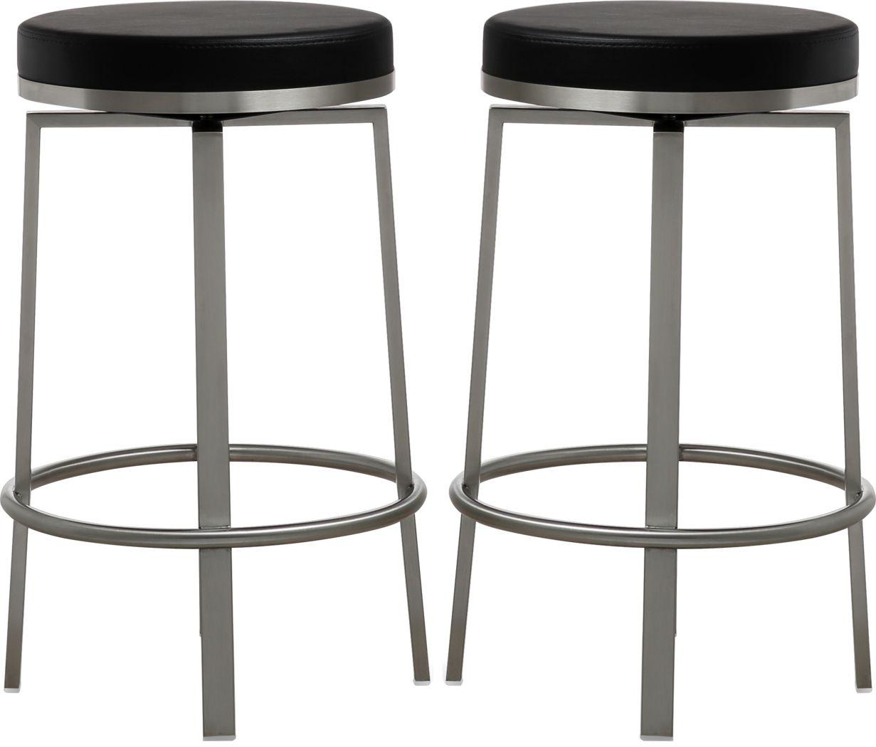 Rourke Black Counter Height Swivel Stools (Set of 2)
