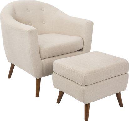 Rozelle Beige Accent Chair & Ottoman