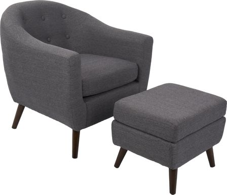Rozelle Charcoal Accent Chair & Ottoman