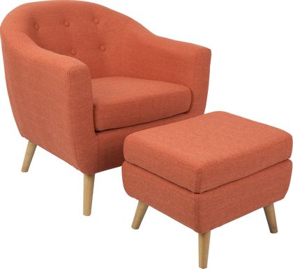 Rozelle Orange Accent Chair & Ottoman