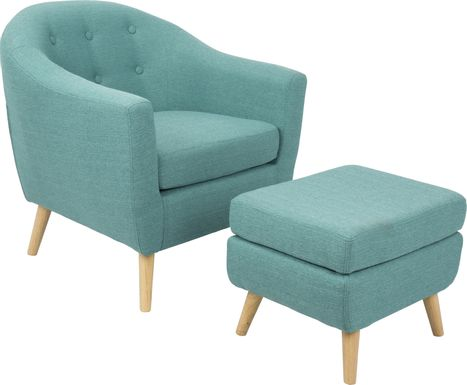 Rozelle Teal Accent Chair & Ottoman