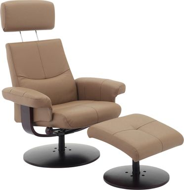 Runelle Tan Recliner and Ottoman