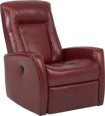 Ruperto Red Leather Power Recliner
