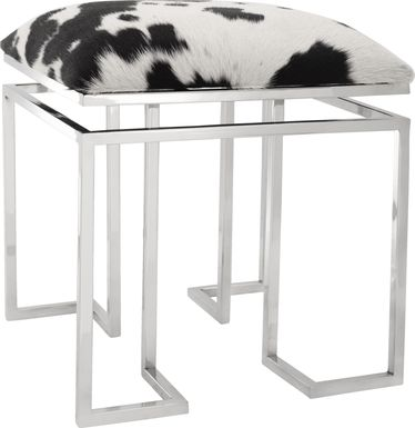 Ruskie Square White Accent Stool