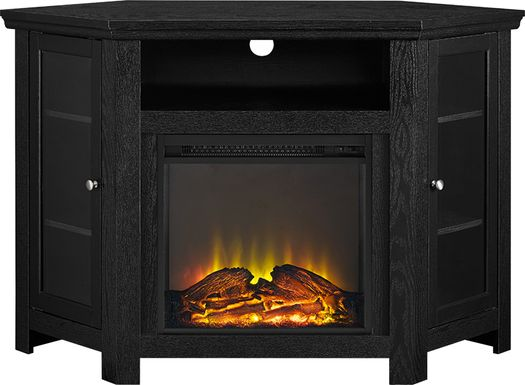 Russell Black 48 in. Corner Console with Electric Fireplace