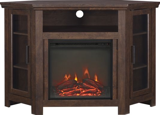 Russell Brown 48 in. Corner Console with Electric Fireplace