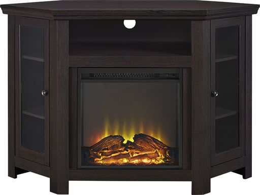 Russell Espresso 48 in. Corner Console with Electric Fireplace