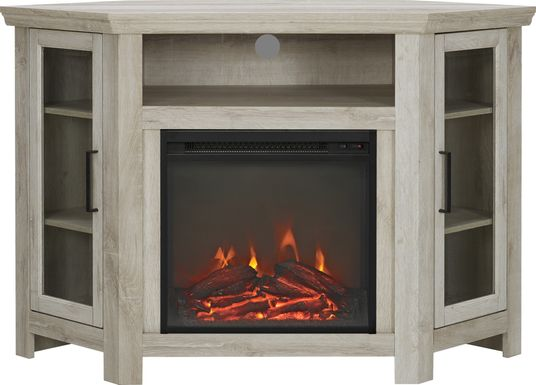Russell  White 48 in. Corner Console with Electric Fireplace
