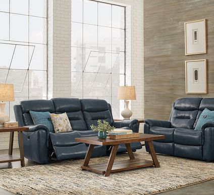 Sabella Navy Leather 3 Pc Living Room with Reclining Sofa