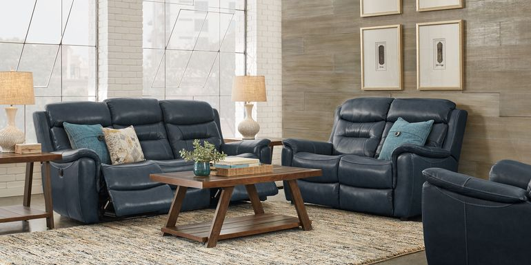 Sabella Navy Leather 5 Pc Living Room with Reclining Sofa