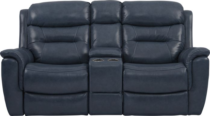 Sabella Navy Leather Power Reclining Console Loveseat