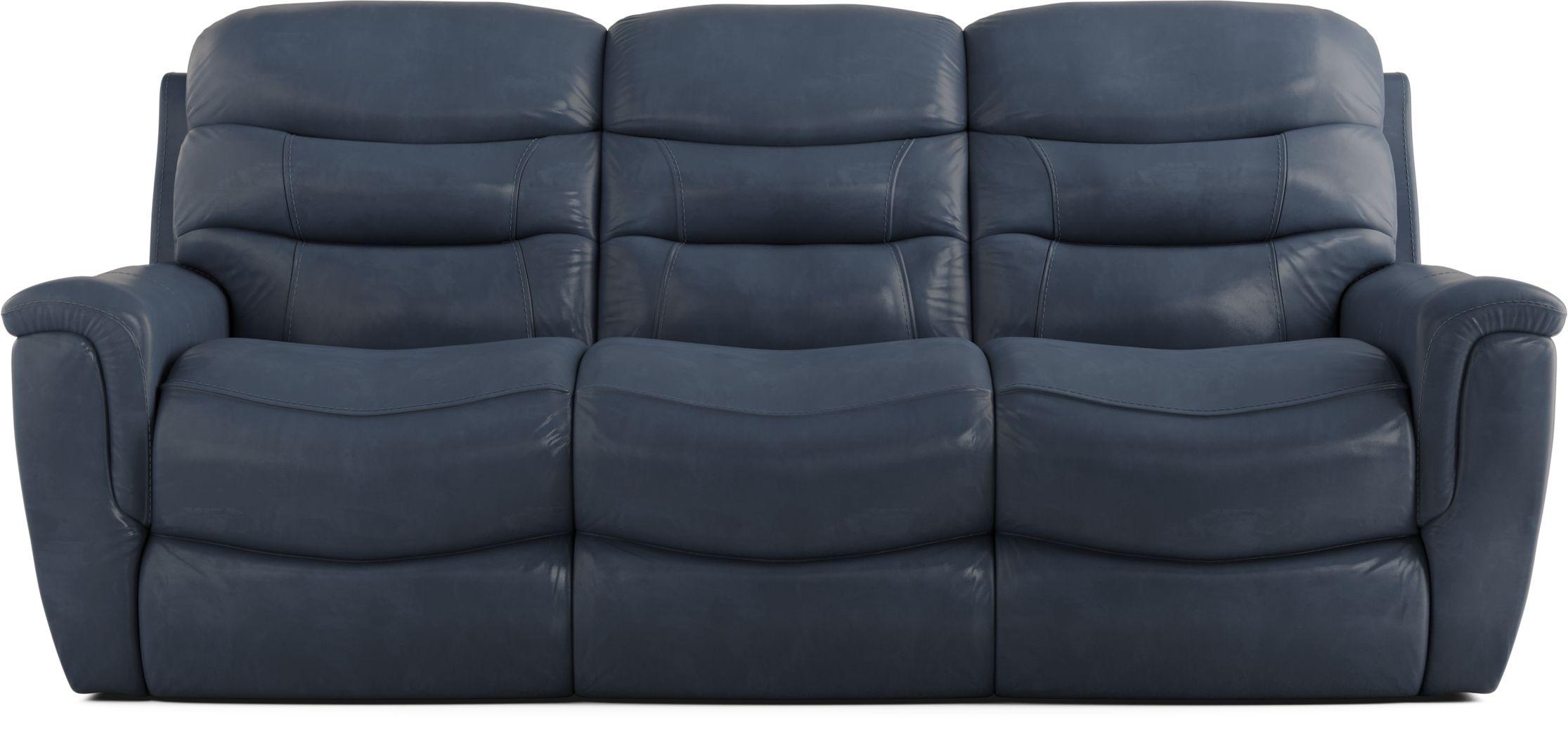 Sabella Navy Leather Power Reclining Sofa