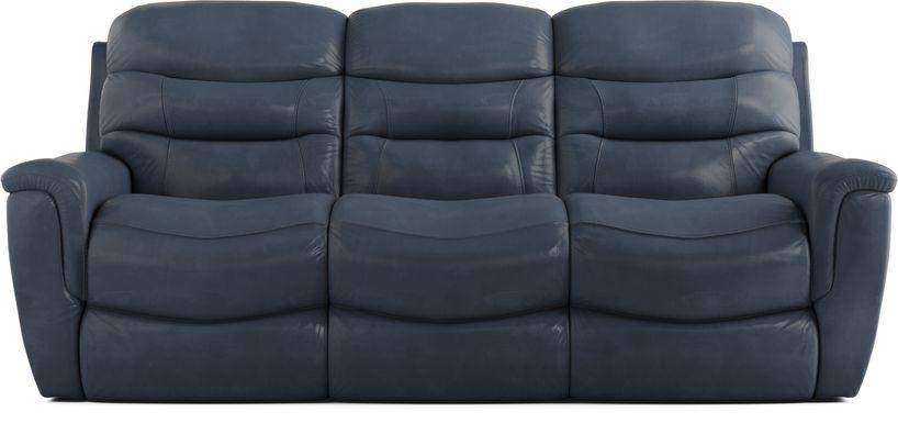 Sabella Navy Leather Reclining Sofa