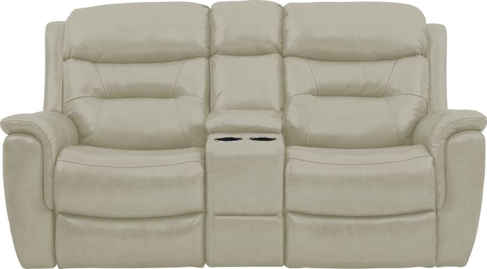 Sabella Stone Leather Reclining Console Loveseat