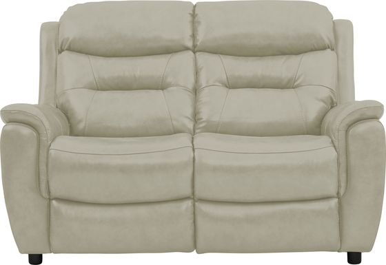 Sabella Stone Leather Stationary Loveseat