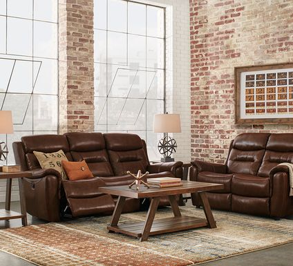 Sabella Walnut Leather 5 Pc Living Room with Reclining Sofa