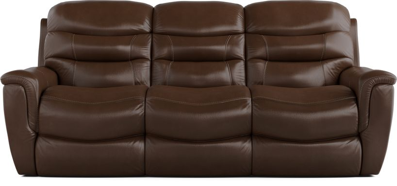 Sabella Walnut Leather Power Reclining Sofa
