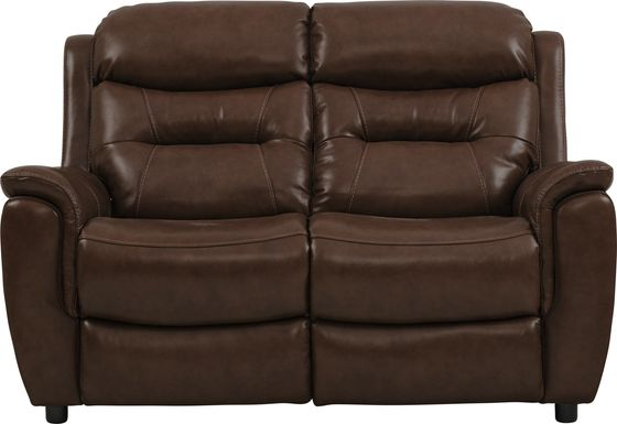 Sabella Walnut Leather Stationary Loveseat