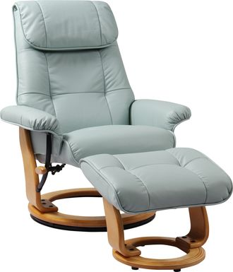 Sadora Light Blue Recliner & Ottoman