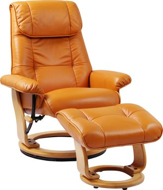 Sadora Orange Recliner & Ottoman