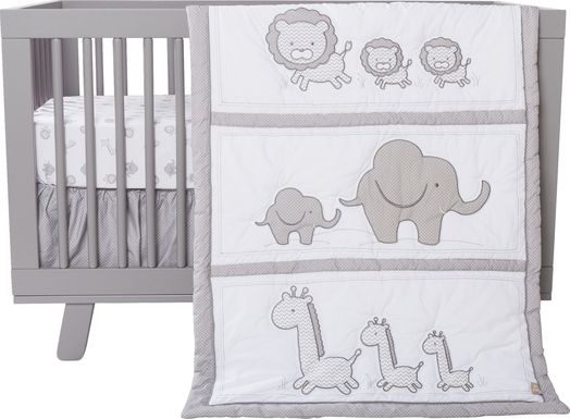 Safari Dreams Gray 3 Pc Bedding Set