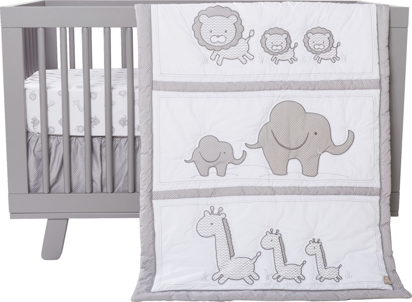 OBERLUX Nursery Bedding Jungle Animal Safari Gray//tan//White 8 Piece Baby Crib Bedding Set