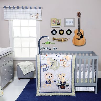 Safari Rock Band Blue 6 Pc Baby Bedding Set