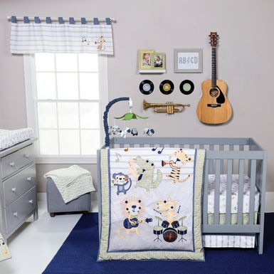 Safari Rock Band Blue 6 Pc Baby Bedding Set