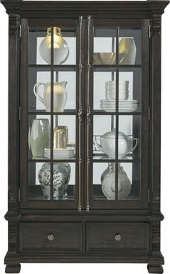 San Luis Oak 2 Pc China Cabinet