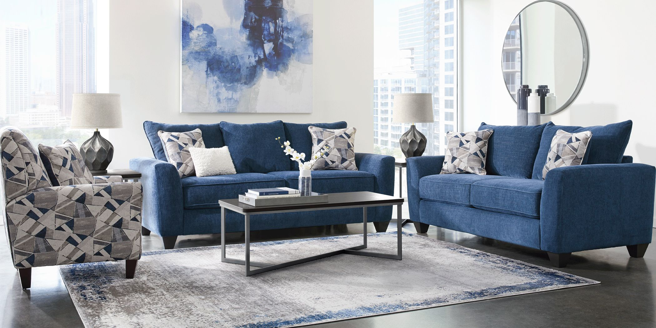 Sandia Heights Blue 8 Pc Living Room