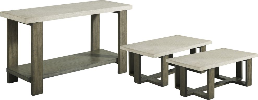 Sanger Gray Rectangle 3 Pc Table Set