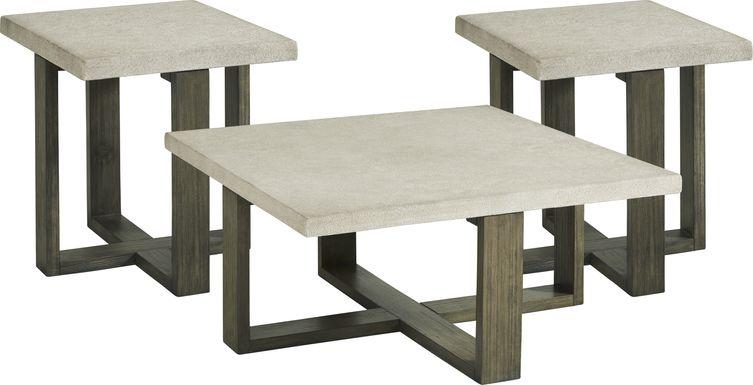 Sanger Gray Square 3 Pc Table Set